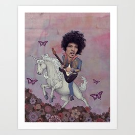 Woke up This Morning and Found Myself Riding a Unicorn Art Print