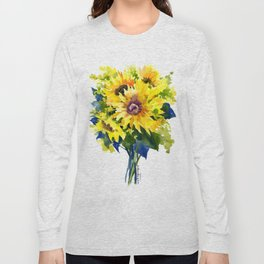Colors of Summer, Sunflowers, Country style french country design Long Sleeve T-shirt