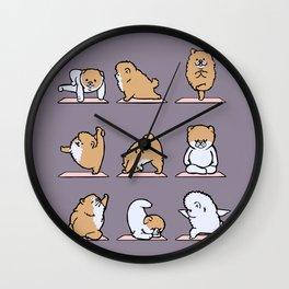 Pomeranian yoga Wall Clock