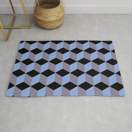Diamond Repeating Pattern In Black Blue and Heather Rug