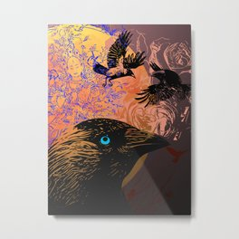 White Tara and Her Crows Metal Print