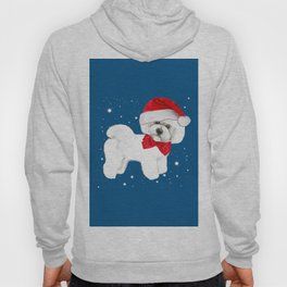 Bichon Frise red christmas holiday themed pattern print pet friendly dog breed gifts Hoody