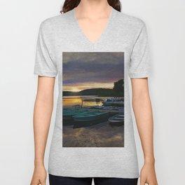 Stunning Lake Front Marina Sunset Unisex V-Neck