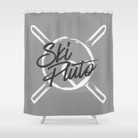 ski Shower Curtains featuring Ski Pluto by Archymedius