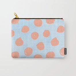 Sweet Life Dots Peach Coral Pink + Blue Raspberry Carry-All Pouch