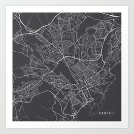 Cardiff Map, Wales - Gray Art Print