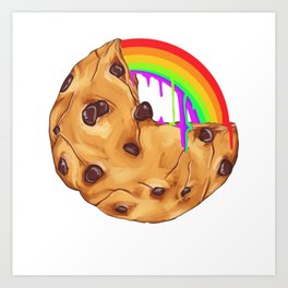 Chocolate Biscuit Chip Cookie Rainbow Pride Gift Art Print