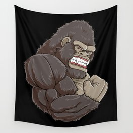 Gorilla At The Gym | Fitness Training Muscles Wall Tapestry