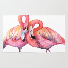 Two Flamingos in Love Rug