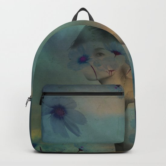 Woman hidden in a world of flowers Backpack