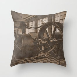 Steam Engine - Sepia Throw Pillow