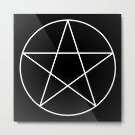 White Pentacle Metal Print