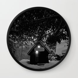 cozy cabin in the woods Wall Clock