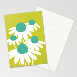 Flowers on Green by Friztin Stationery Cards