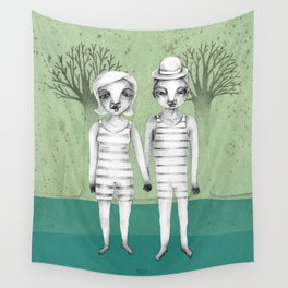gymnast couple in the forest Wall Tapestry