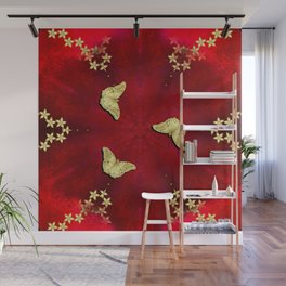 gold butterflies and flowers on red kaleidoscope Wall Mural