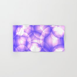 Gentle intersecting purple translucent circles in pastel shades with glow. Hand & Bath Towel