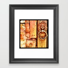 Lion door. Framed Art Print