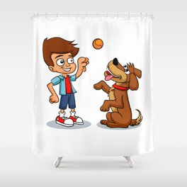 Young Boy Pitcher for Baseball and Softball Shower Curtain