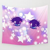 pastel goth Wall Tapestries featuring Fairy Kei Pastel Goth Dreamy Shoujo Manga Eyes by KawaiiMachine