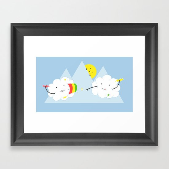Cloud Fight Framed Art Print