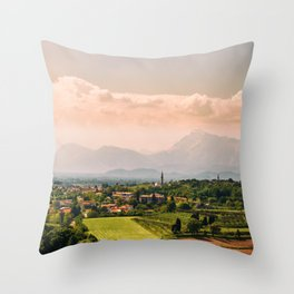 sunny spring day in the countryside Throw Pillow