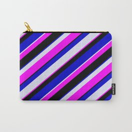 Fuchsia, Black, Blue, and Lavender Colored Pattern of Stripes Carry-All Pouch