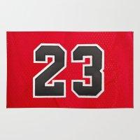 chicago bulls Area & Throw Rugs featuring Michael 23 Jordan Chicago Bulls by Rorzzer