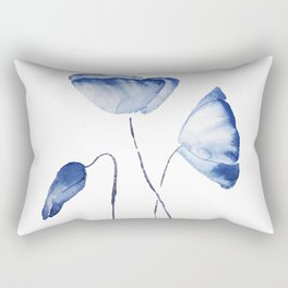 indigo poppy watercolor Rectangular Pillow