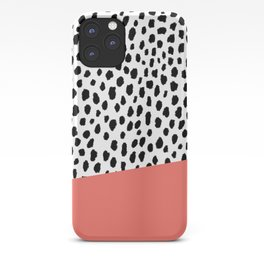 Dalmatian Spots with Coral Stripe (Pantone Living Coral) iPhone Case