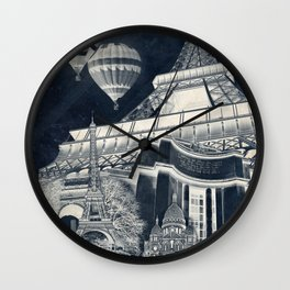 French Collage v1 Negative Wall Clock