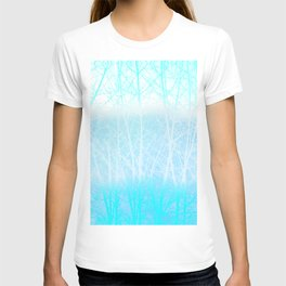 Frosted Winter Branches in Misty Blue T-shirt