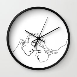 The Lovers - Minimal Line Drawing. Kiss black and white. Wall Clock