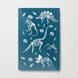 Dinosaur Fossils in Blue Metal Print