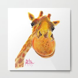 Cute Giraffe ' BENNY ' by Shirley MacArthur Metal Print