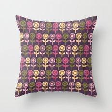 Lino Cut Flower Throw Pillow