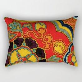 Vintage Japanese Kimono Fabric Pattern Rectangular Pillow