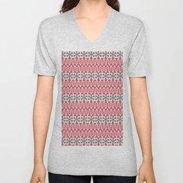Vintage red blue ivory abstract Christmas pattern Unisex V-Neck