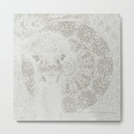 Ghostly alpaca and mandala Metal Print