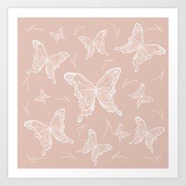Butterflies on peach background Art Print