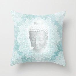 Tibetan Dream Blue White Buddha Mandala Throw Pillow