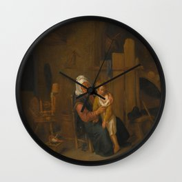 Jan Steen - An Old Lady with a Young Boy, in an Interior Wall Clock