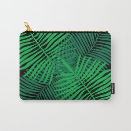 Modern Tropical Palm Leaves Painting black background Carry-All Pouch