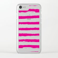 Pretty Pink STRIPES Handpainted Brushstrokes Clear iPhone Case