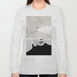 minimal collage /silence Long Sleeve T-shirt