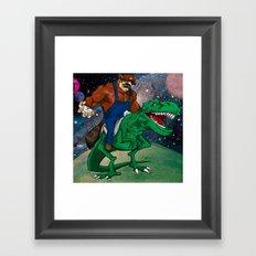 Raccoon Dino Rider.... Framed Art Print