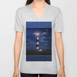 Night at Bodie Island Light Unisex V-Neck