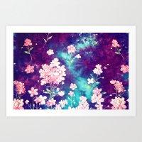 Space Flowers Art Print
