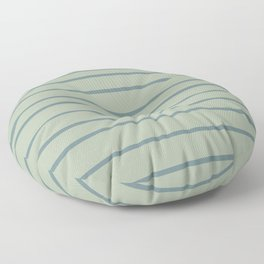 Blue-Green Minimal Horizontal Line Pattern 2021 Color of the Year Aegean Teal and Salisbury Green Floor Pillow