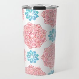 Mandala Red Turquoise Pattern Travel Mug